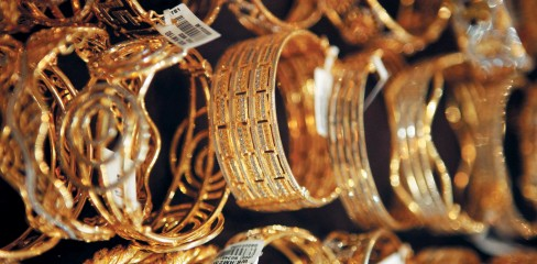 Gold bracelets are displayed at Habib Jewels boutique in Kuala Lumpur